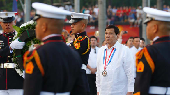 Philippine President Rodrigo Duterte, second right, has a history of hyperbole.