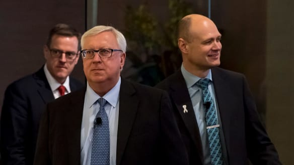 Myer's annual general meeting. Myer CEO Richard Umbers and new chairman Garry Hounsell (wearing glasses). 24 November 2017. The Age Business. Photo: Eddie Jim.