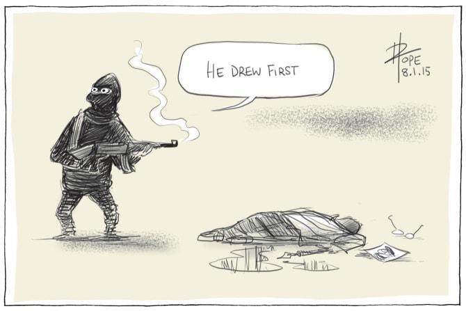 David Pope's Charlie Hebdo cartoon, that resonated around the world on January 8, 2015.