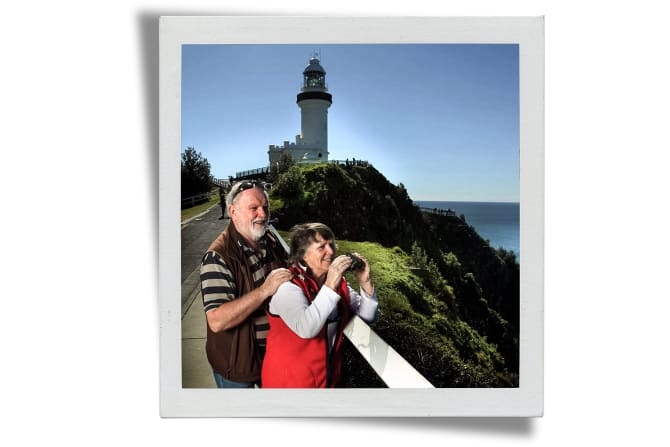 Trish and Wally watch the annual humpback whale migration off Cape Byron.