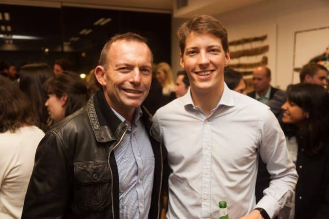 Former NSW Young Liberal president Alex Dore with Tony Abbott.