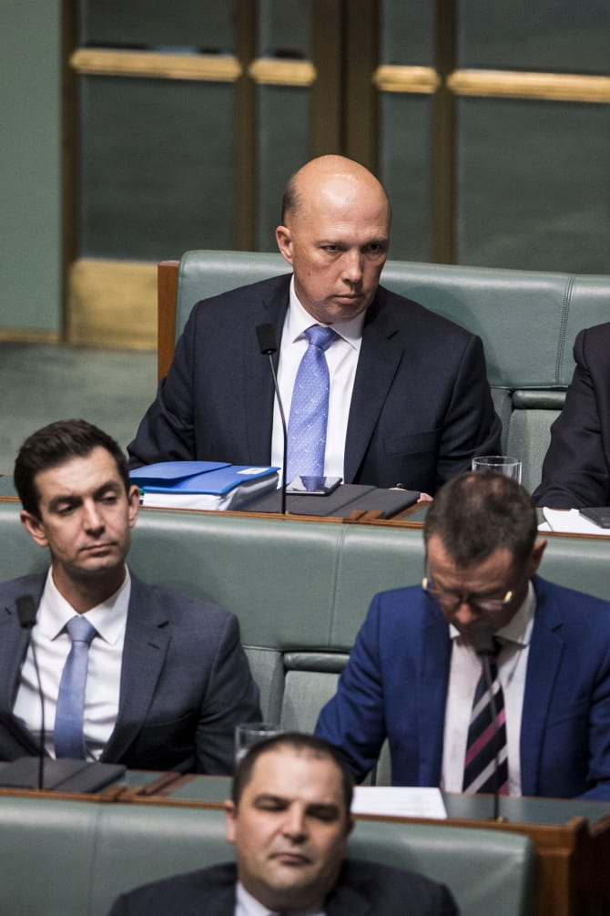 Peter Dutton on the backbench in Question Time.