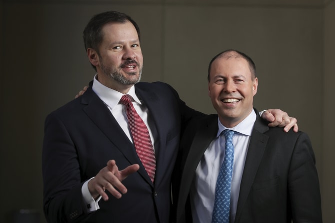 Labor's Ed Husic with the Liberal Party's Josh Frydenberg.