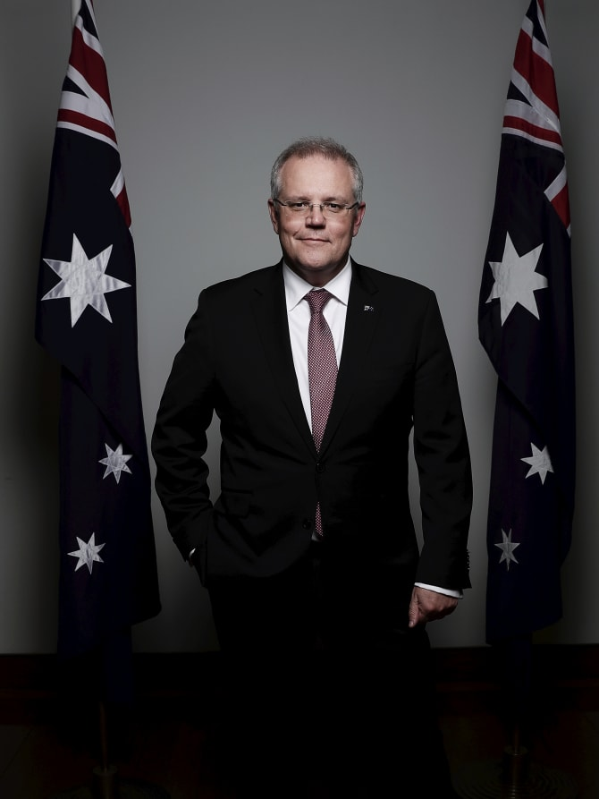 New Prime Minister Scott Morrison poses for a portrait on his first day in the job.