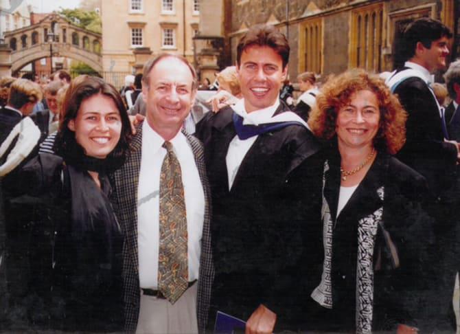 Josh Frydenberg with family at Oxford University.