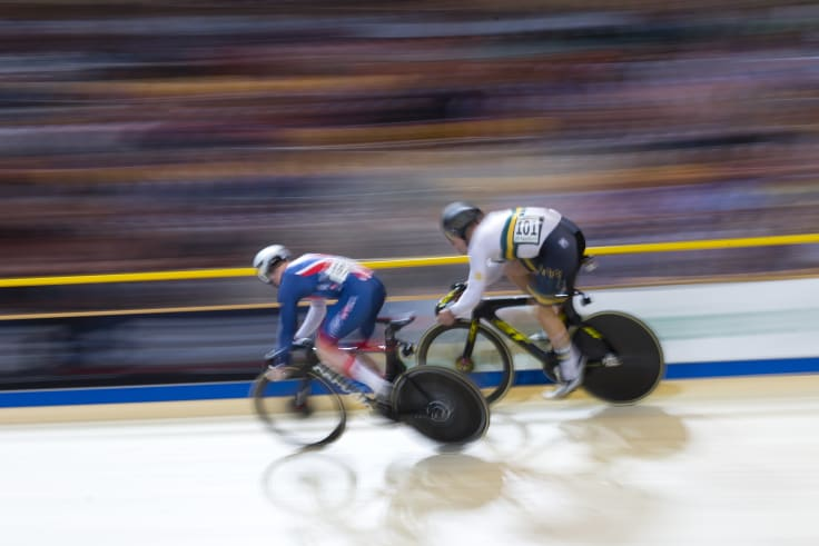High ground: World champion Matthew Glaetzer of Australia, right, beats silver medalist Jack Carlin of Britain, left, in the final of the men's sprint at the World Championships.