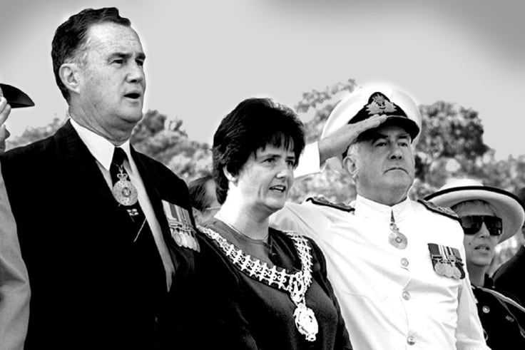 Sutherland Shire mayor, Genevieve Rankin, centre,  at the 225th anniversary of Cook's landing at Kurnell.