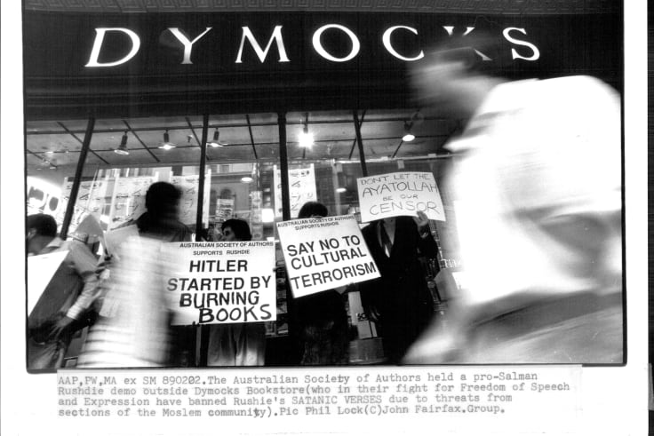 The Australian Society of Authors held a pro-Salman Rushdie demo outside Dymocks Bookstore, 1989.