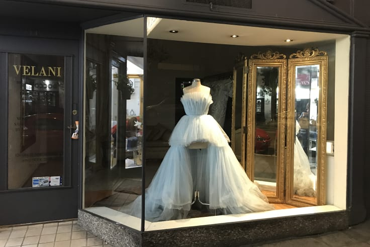 """Back on the rack: Roxy Jacenko's mullet dress in the window of Five Dock """"couturier"""" Velani 48 hours after the Gold Dinner."""