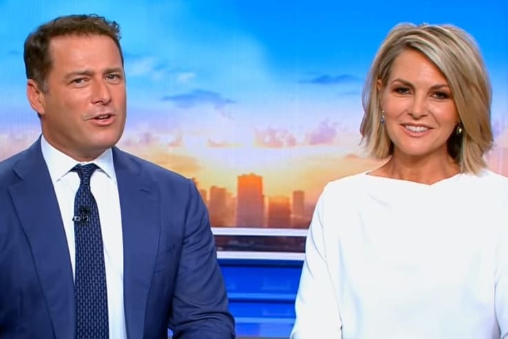Karl Stefanovic and Georgie Gardner on the set of Today.