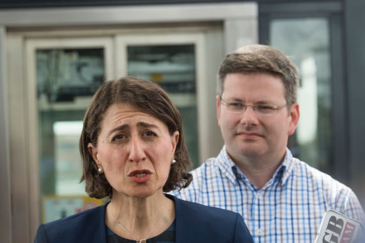 NSW Premier Gladys Berejiklian and member for Oatley Mark Coure at Narwee station in December.