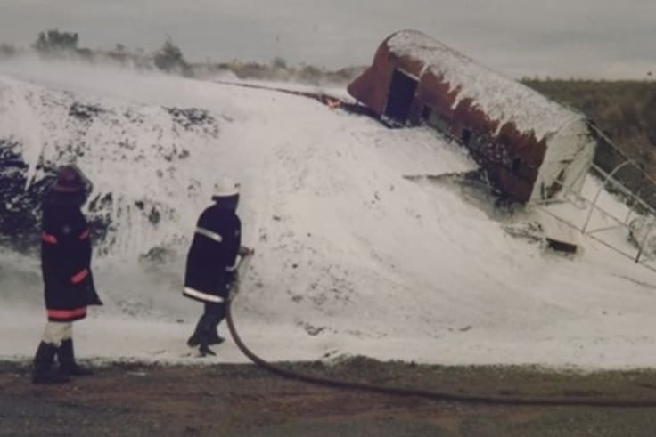 Aviation rescue and firefighting training exercises involving toxic foam at Melbourne's Tullamarine airport in 1998.