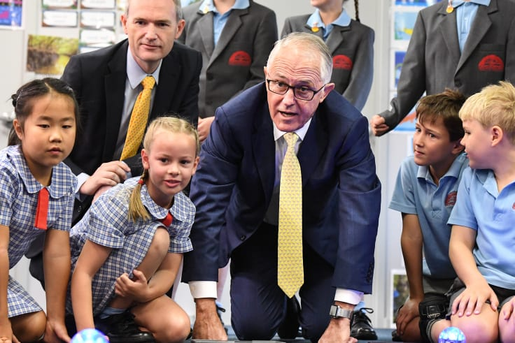 Prime Minister Malcolm Turnbull visited Oatley West Public School in Sydney on Wednesday.