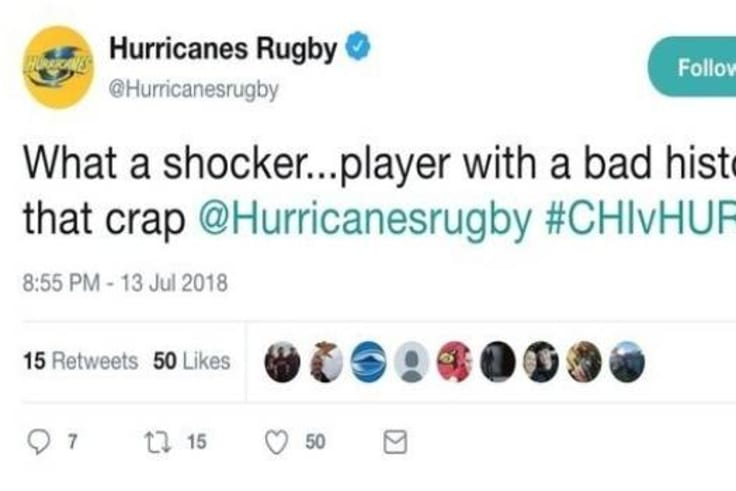 The subsequently deleted Hurricanes tweet.