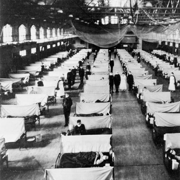 Flu patients at a converted gym.