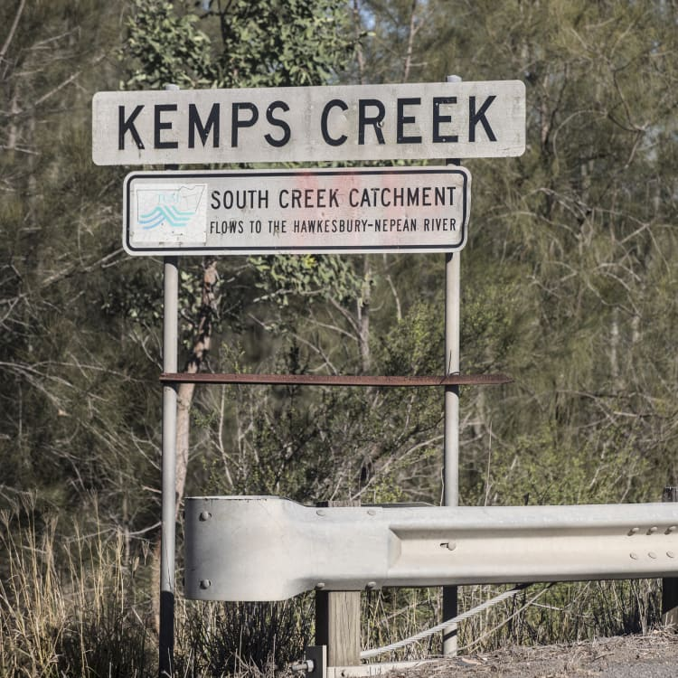 Kemps Creek, which runs close to Kemps Creek NSW Rural Fire Service Training Facility, which the EPA has said is contaminated.
