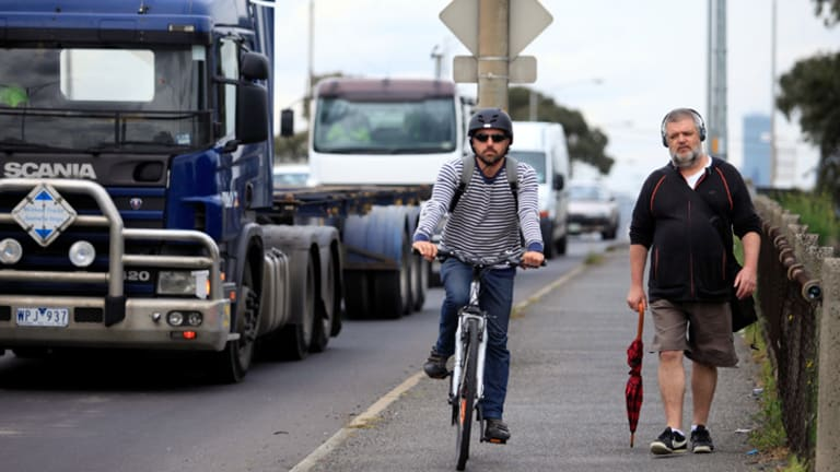 The path along Shepherd Bridge in Footscray is used by hundreds of cyclists a day and must be shared with pedestrians.