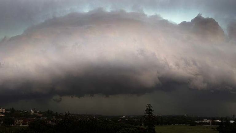A shelf cloud formation in front of a line of storms that rolled through Sydney yesterday afternoon.