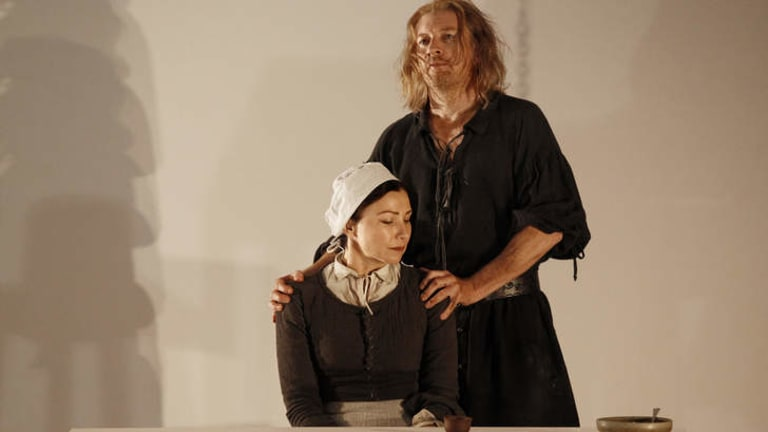 Anita Hegh (Elizabeth Proctor) and David Wenham (John Proctor) in <i>The Crucible</i>.