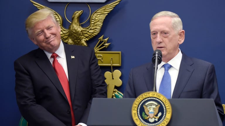 President Donald Trump with Defence Secretary Jim Mattis.