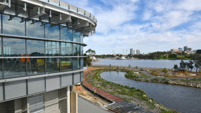 The restaurant overlooking the city and Swan River at Perth Stadium.