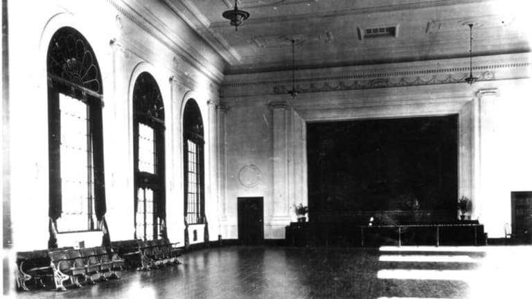 Interior of Albert Hall in 1928.