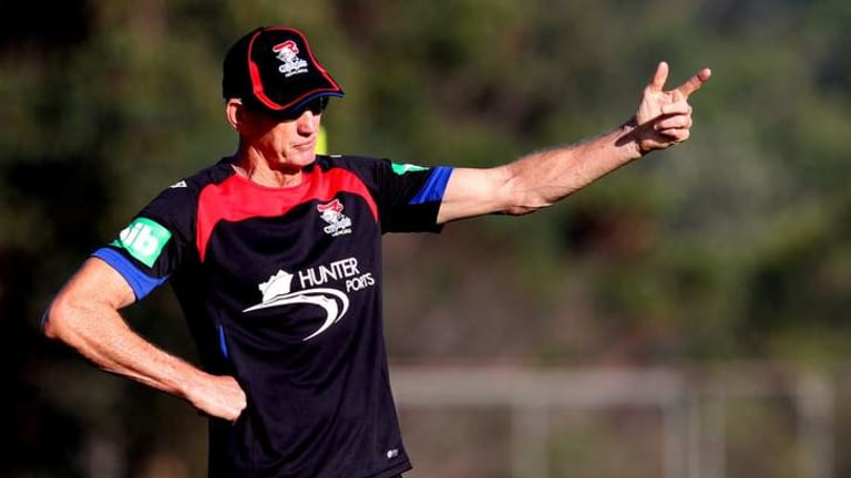Newcastle NRL coach Wayne Bennett at a Knights training session. Bennett has expressed frustration that if Australian Crime Commission accusations are correct, anti-doping authorities have continuously missed alleged infractions in the sport.