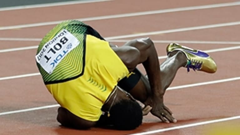 Bolt's fall during the World Athletics Championships in London.