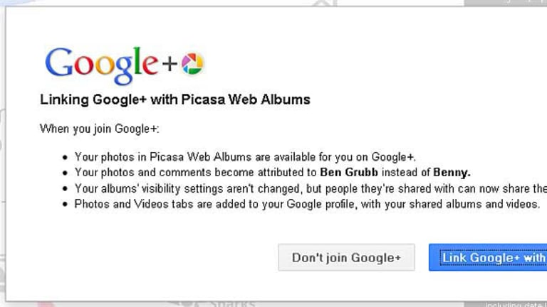 """Ben Grubb, the author of this article, is asked to link his Google Picasa web album with his Google+ account. It changes his Picasa name to """"Ben Grubb"""" instead of """"Benny"""", he is told. There is no option to tell Google to not do this."""