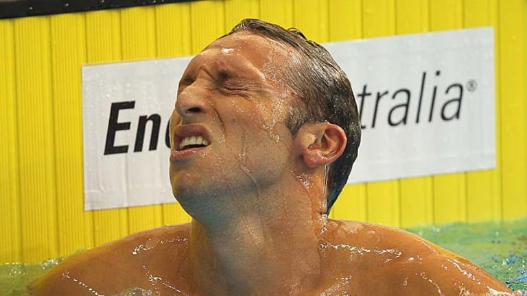 The long goodbye … Ian Thorpe shows his anguish after failing to qualify in the 200m freestyle last night.