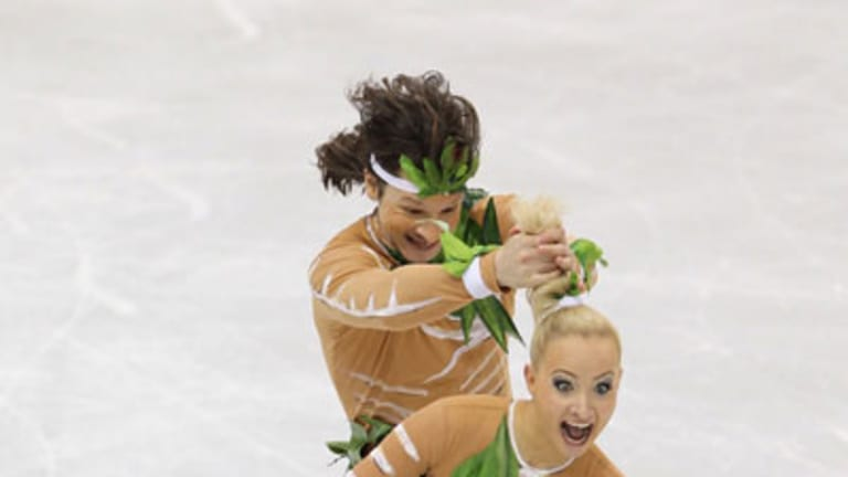 """No go . . . Russian ice dance pair left judges cold with their controversial """"Aboriginal dance""""."""