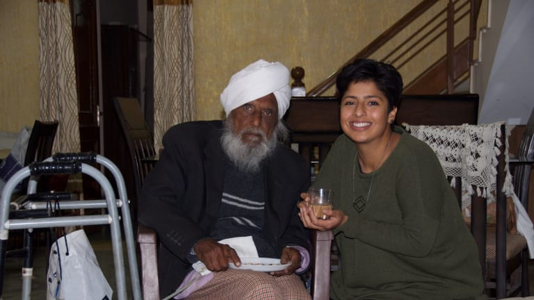 Melbourne chai maker Uppma Virdi (right) who founded the brand Chai Walli based on the recipe of her grandfather, Ayurvedic healer Pritam Singh Virdi  pictured in Chandigarh, in the Punjab, in India.