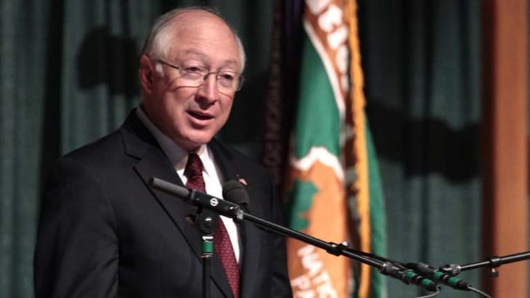 Truncated message ... US Interior Secretary, Ken Salazar, has demanded a correction on the granite memorial bearing the late Martin Luther King jnr's words.