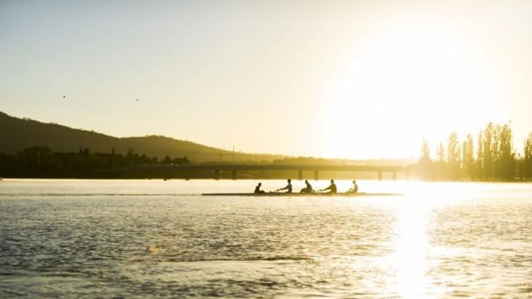 The ANU Boat Club celebrate the 50th anniversary since the Federal Department of Interior allowed rowing on Lake Burley Griffin on 18th April 1964.