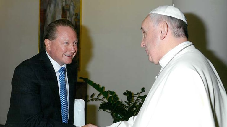 Like minds: Forrest meets an equally passionate Pope Francis.