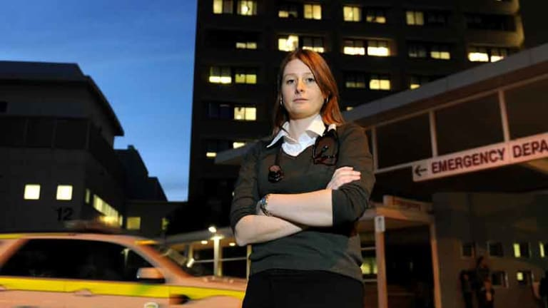 """Medical student Rachael Roberts in Canberra yesterday. """"I feel like I'm not being given a fair go,'' she says."""