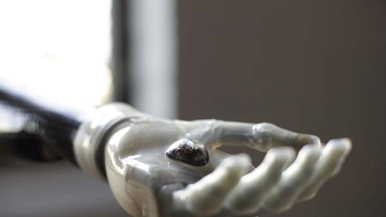 The camera eye sits in a bionic hand.