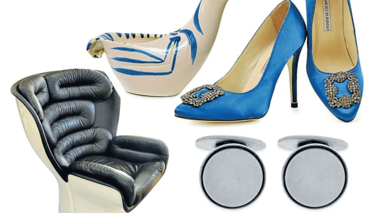 Sold: What people are buying at auction, as sold by Leonard Joel recently. Clockwise from top: Pablo Picasso dove subject ceramic, Manolo Blahnik cobalt blue shoes, Georg Jensen cufflinks and Joe Colombo black-and-white Elda chair.