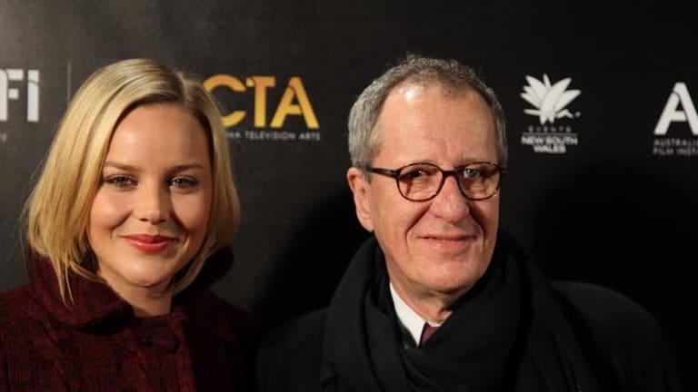 Plenty of hype: Abbie Cornish with Geoffrey Rush help launch a new awards ceremony last night in Sydney.