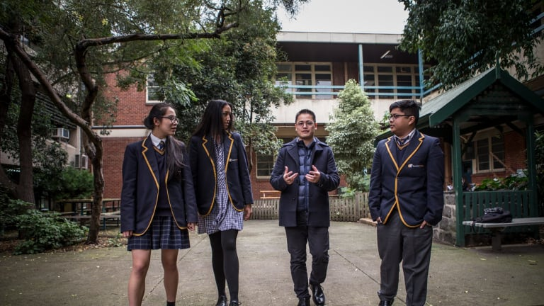 A new alumni service has been created for state school students who want to stay connected to their old school and give back. Former Sunshine College student Dr Vu Le meets current students Josie Pham, Khadija Acone and Rhovie Parco.