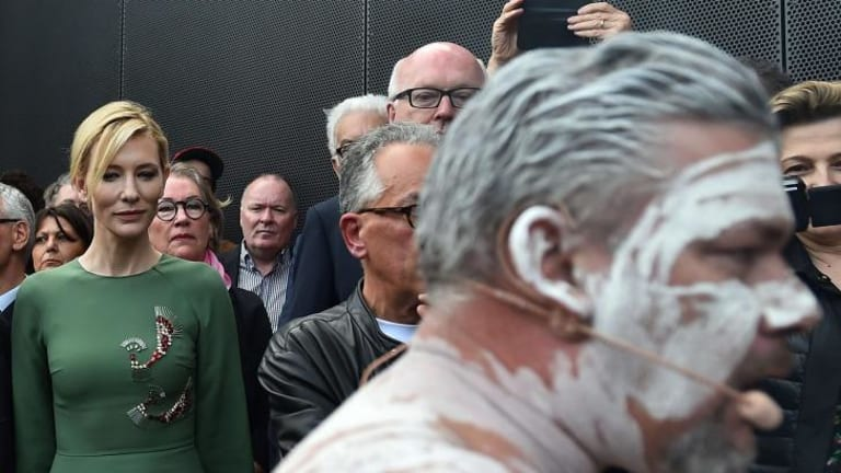 Cate Blanchett and George Brandis attend the opening ceremony of the Australian pavilion in Venice.