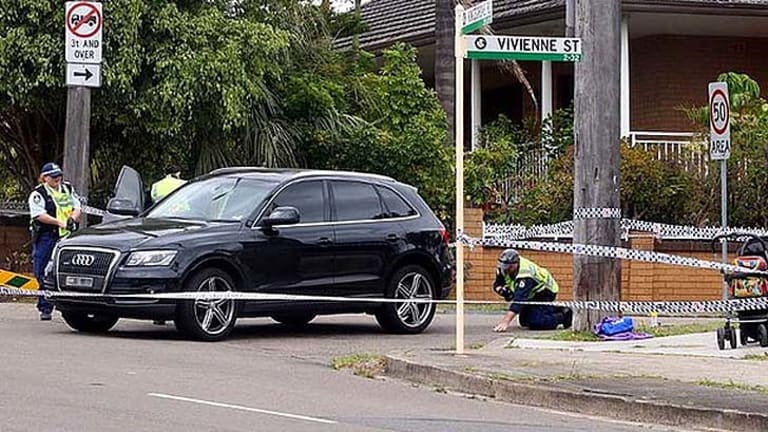 Police cordoned off the area at the corner of Vivienne Street and Kingsgrove Road.