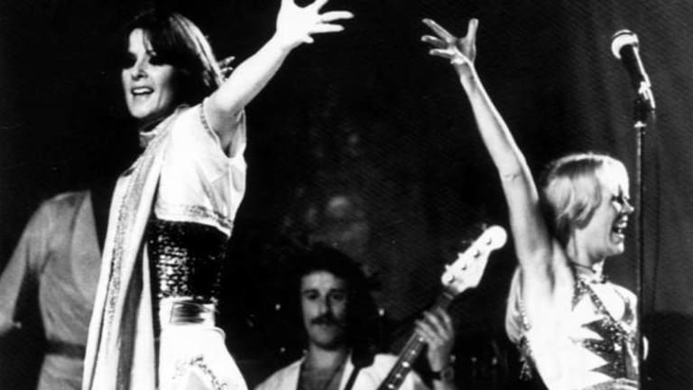 Ovation: Frida Lyngstad, left, and Agnetha Faltskog on stage in Sydney in 1977.