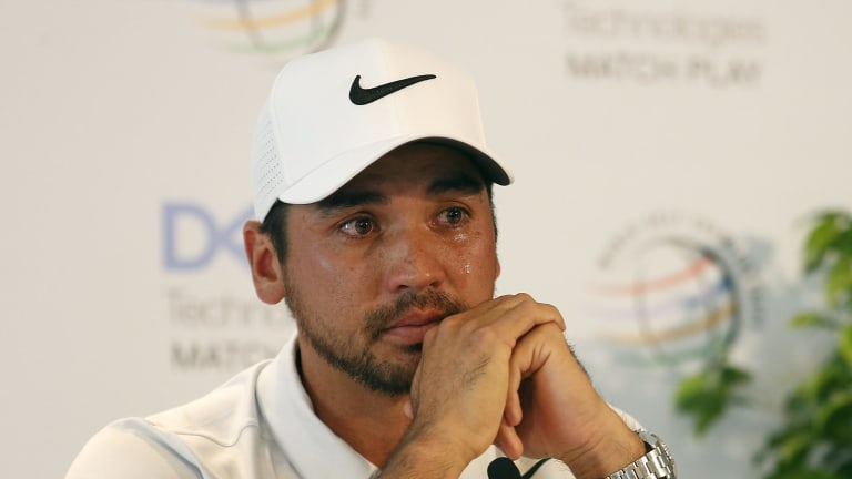 Emotional: Jason Day announced his withdrawal from an event in Austin, Texas as his mother underwent surgery last month.
