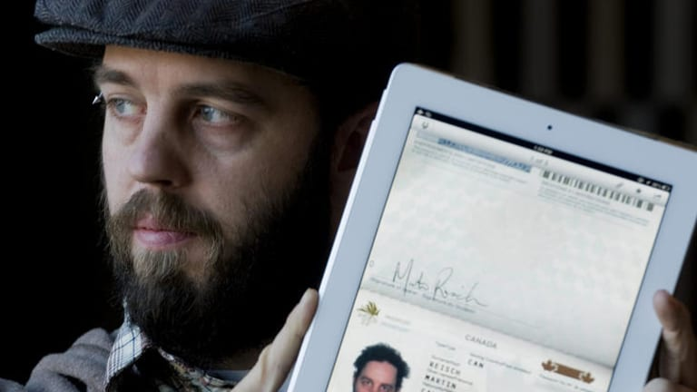 Forgot passport ... Martin Reisch used his iPad to gain entry to the US.