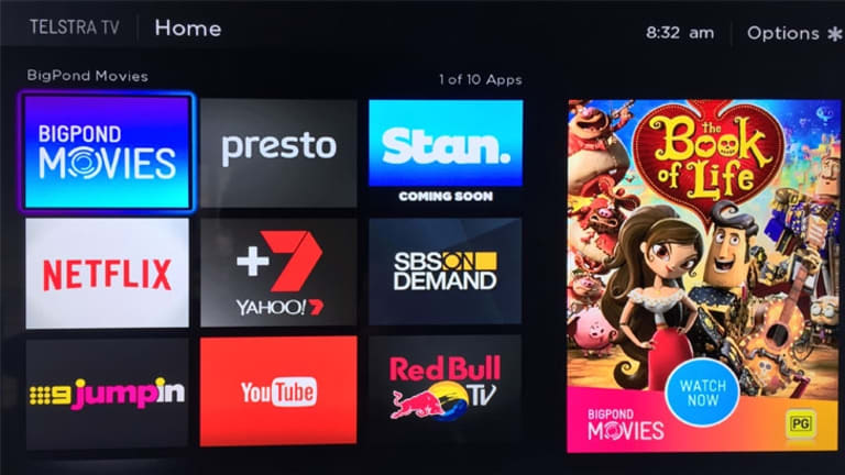 The Telstra TV home screen, offering easy access to movie rentals, subscription services and catch up TV.