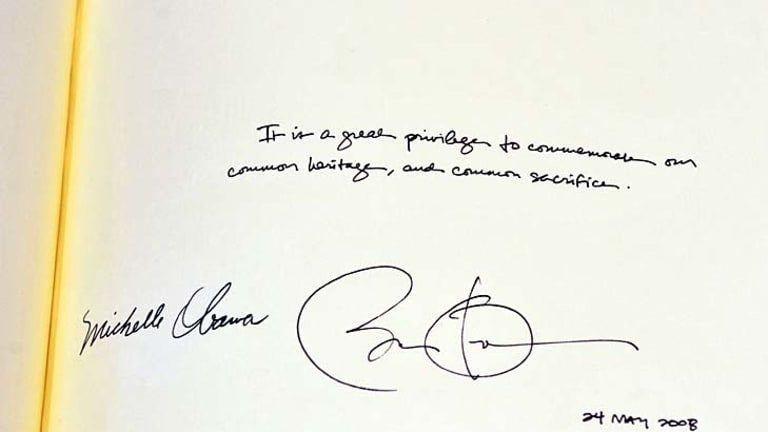 Wrong date ... the signatures of US President Barack Obama and his wife, Michelle Obama, in the distinguished visitors' book at Westminster Abbey.