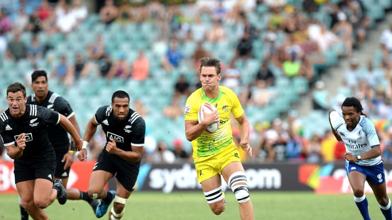 Runaway: Lachie Anderson of Australia in action against New Zealand.