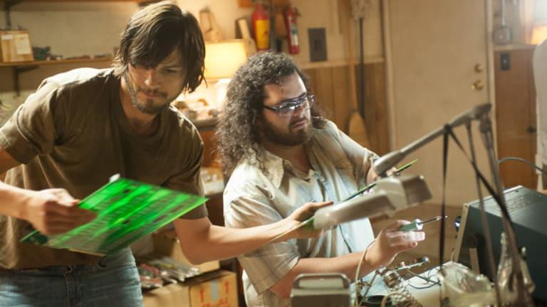 Ashton Kutcher as Steve Jobs, left, and Josh Gad as Apple founder Steve Wozniak in a scene from <i>Jobs</i>.