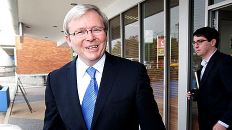 Kevin Rudd leaves his electoral office today before his gall bladder problem became public.
